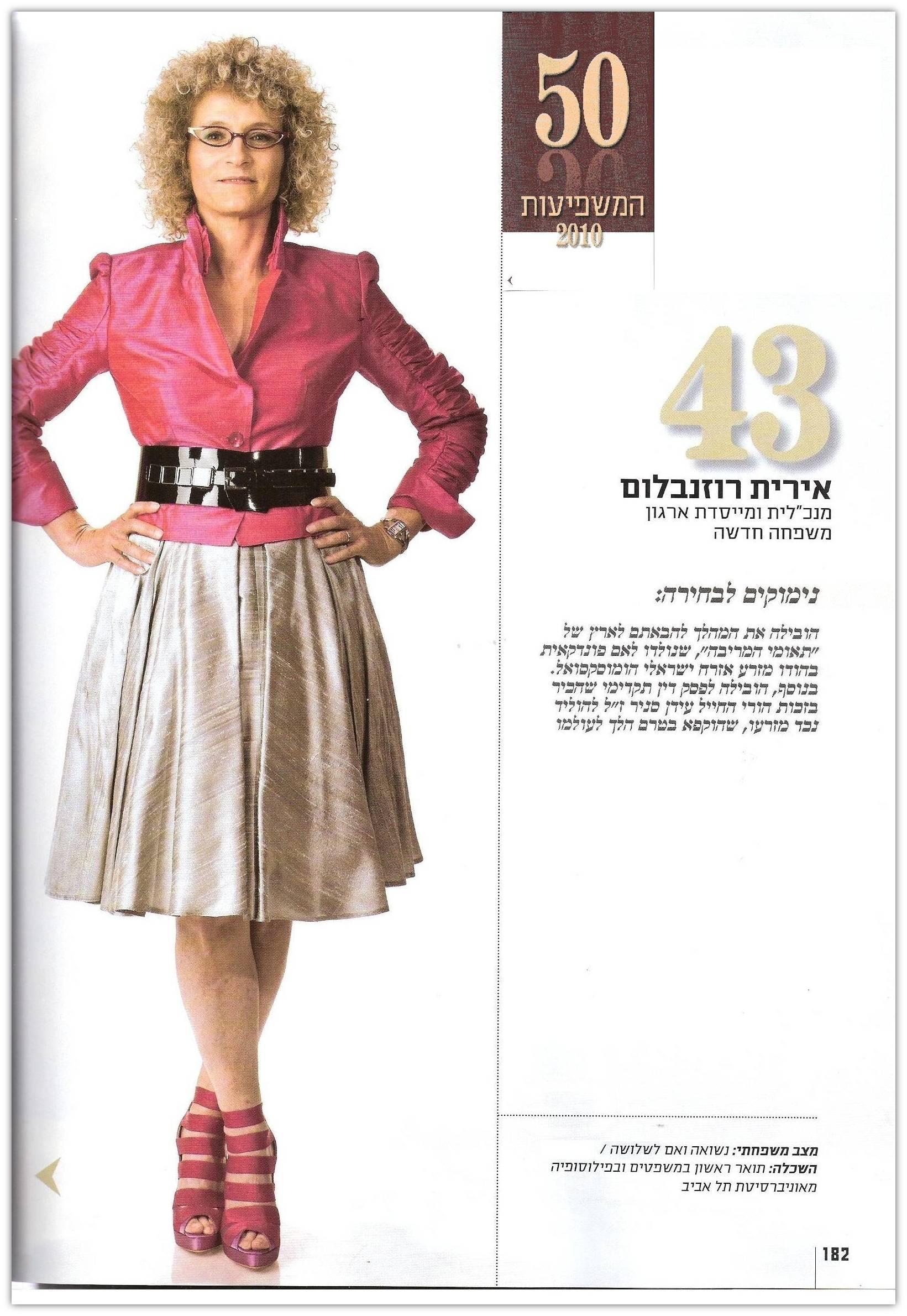ליידי גלובס: אירית רוזנבלום בין 50 הנשים השפיעות ב- 2010